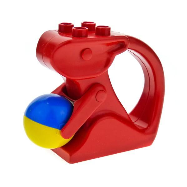 1 x Lego Duplo Primo Tier Rassel rot Klapper Eichhörnchen mit Nuss Ball blau gelb Baby Baustein bab001