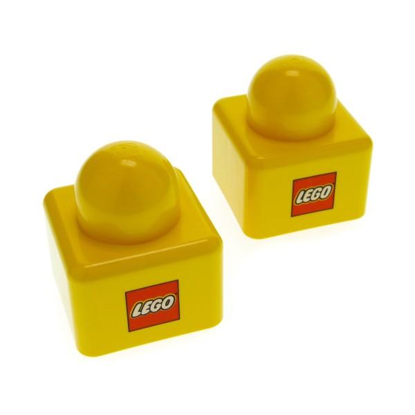2 x Lego Duplo Primo Bau Stein gelb 1x1 mit Lego Logo rot vorne und hinten 1 große Noppe oben Baby Spielzeug für Set 9031 31000pb01