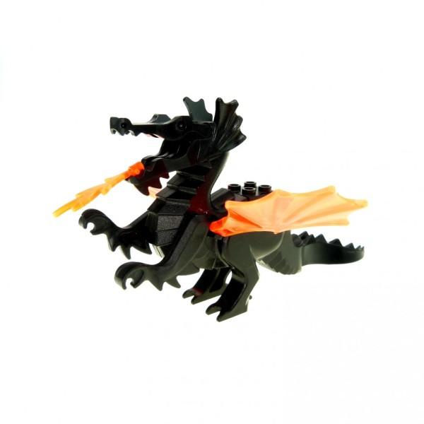 1 x Lego System Tier Drache schwarz mit 2 Flügel transparent orange Flamme Castle Burg Ritter 6129c04