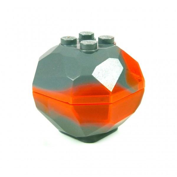 1 x Lego System Fels rund neu-dunkel grau orange marmoriert Brocken Felsen Stein für Castle Star Wars 30294c01pb01