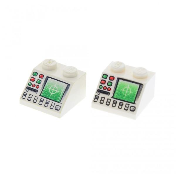 2 x Lego System Dachstein weiss 45° 2 x 2 bedruckt mit Radar Bildschirm Disketten Schlitz schräg Steine 3039pb041