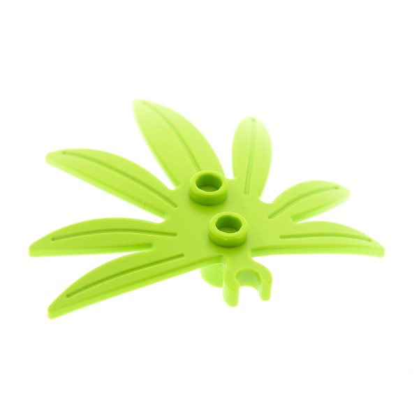 1 x Lego System Pflanze lime hell grün 6 x 5 Blatt Palmen Blatt dicker offener O - Clip Palme Leaves Swordleaf 10884