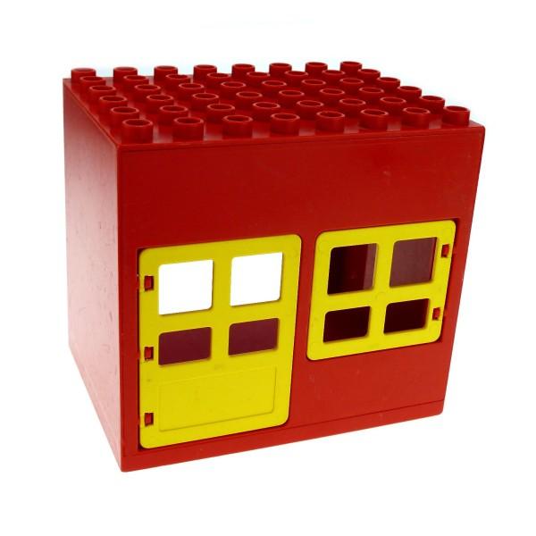 1 x Lego Duplo Gebäude Haus rot gelb 6x8x6 gross Zoo Bauernhof Stall Puppenhaus mit Fenster Tür 2206 2205 2204