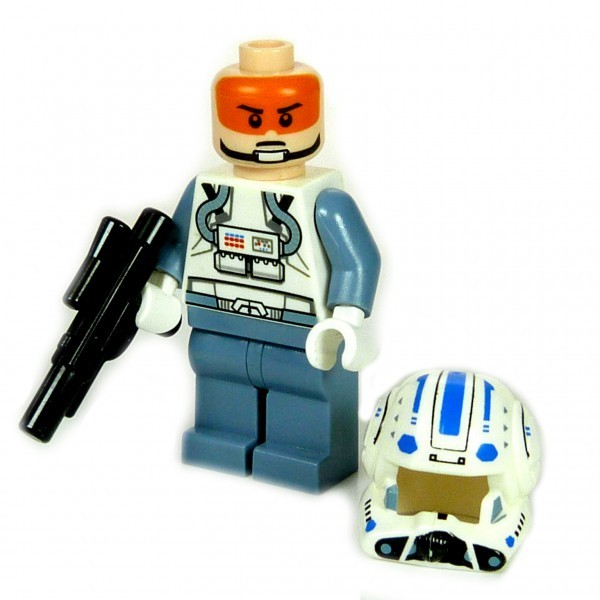 000 Lego Star Wars Figur Captain Jag Pilot ARC-170 blau grau mit Waffe Blaster the clone wars 8088 F43