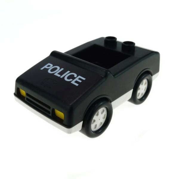 1 x Lego Duplo Fahrzeug Auto schwarz weiss Police Polizei Wagen PKW 4 Noppen im Sitz klein 2235pb01