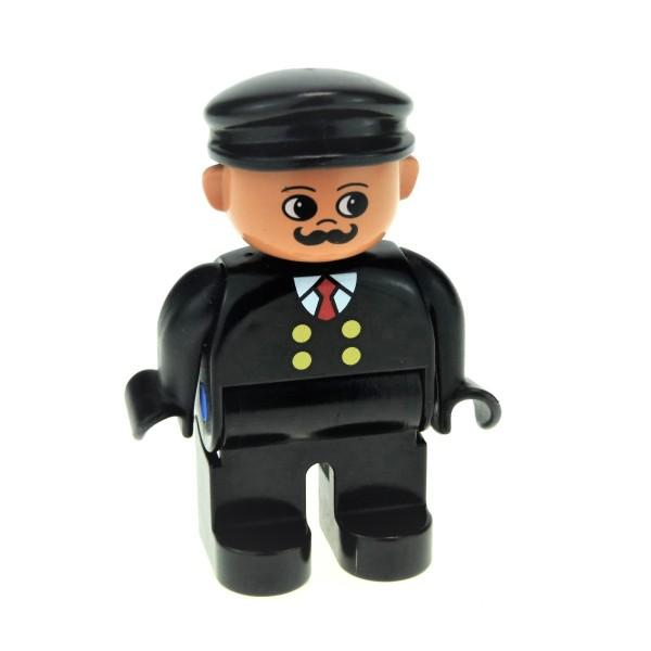 1 x Lego Duplo Figur Mann Lokführer Hose Oberteil schwarz mit Knöpfe gelb Mütze Hut schwarz Bahnhof Eisenbahn Zug Schnurrbart 4555pb075