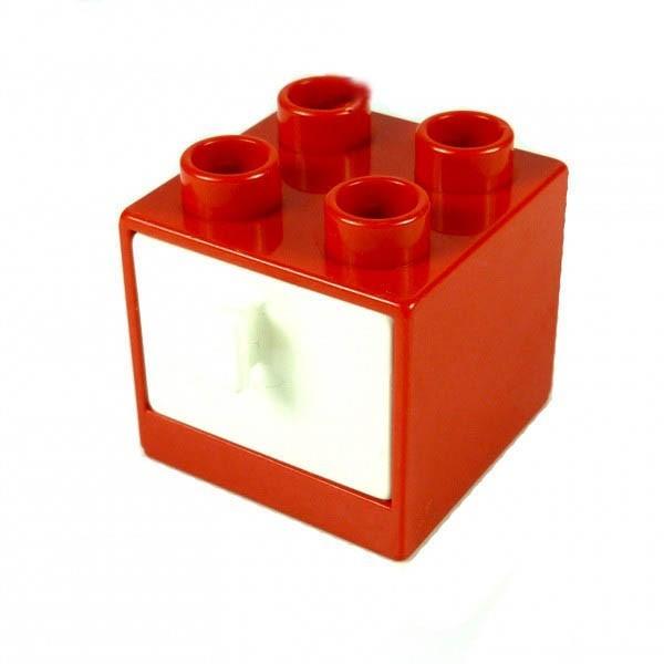 1 x Lego Duplo Möbel Schrank rot weiss 2x2x1.5 Kommode mit Schublade 2x2 Schlafzimmer Küche Bad Puppenhaus 4171339 4890 4891