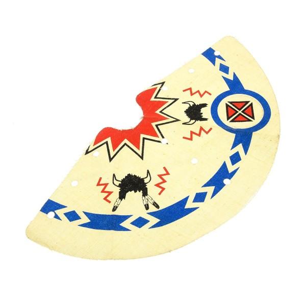 1 x Lego System Zelt Tuch B-Ware abgenutzt weiss Muster Zick Zack blau mit Büffel Helm Schamane schwarz Linien dick Tepee Tipi Indianer x172px2