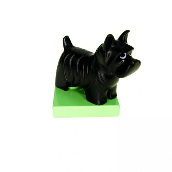 1 x Lego Duplo Tier Hund schwarz Terrier auf Sockel medium hell grün Bauernhof Haus Scotty Set 1540 2551 2784 2299c03pb01