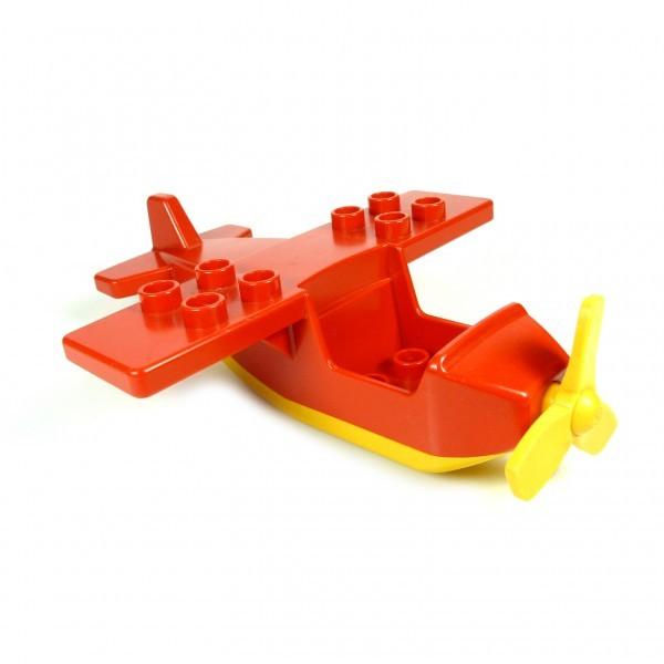 1 x Lego Duplo Flugzeug Top rot Base gelb klein Propeller gelb Passenger Aircraft 2159c02