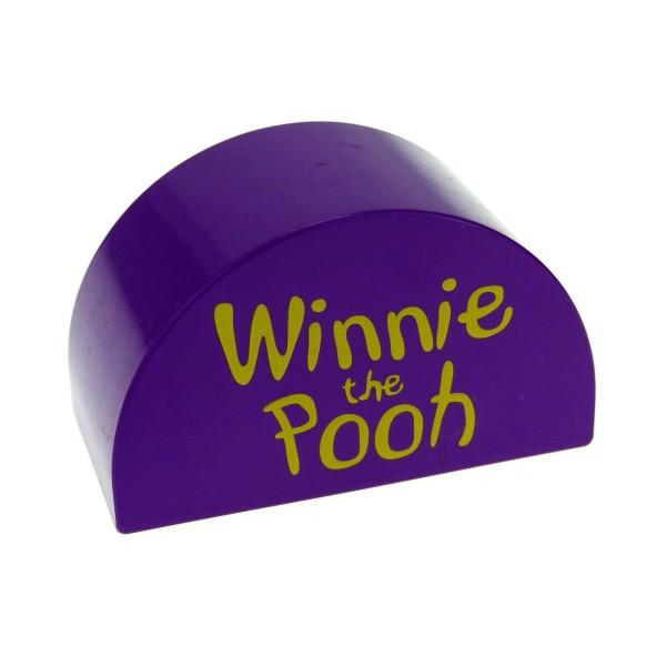 1 x Lego Duplo Halb Rund Motiv Stein violett lila 2x4x2 Motivstein bedruckt mit Winnie the Pooh Disney Puh Bär 31213px01