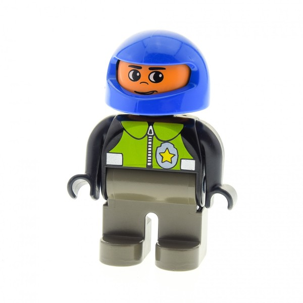 1 X Lego Duplo Figur Mann Polizist Hose Alt-dunkel Grau