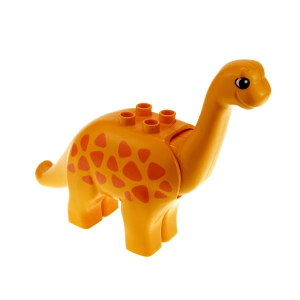 1 x Lego Duplo Tier Brachiosaurus Dinosaurier orange groß mit Muster Punkten Langhals Dino Welt 31053pb01