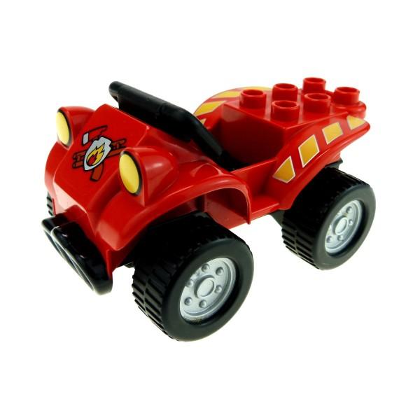 1 x Lego Duplo Fahrzeug Auto Quad rot schwarz mit Fire Logo Feuerwehr PKW für Set 5603 4499649 4517370 54007c03 54005pb02