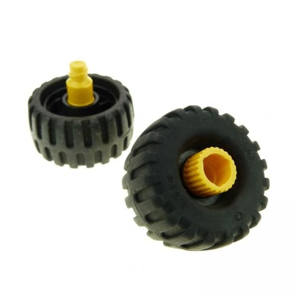 2 x Lego Duplo Toolo Rad mit Felge schwarz gelb Reifen mit Profil Räder Fahrzeug 6292 6290 4514411 6290c01