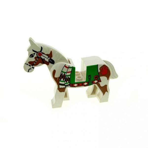1 x Lego System Tier Pferd weiß gemustert bedruckt Decke Schabracke Indianer Ritter Cowboy 4493c01px3
