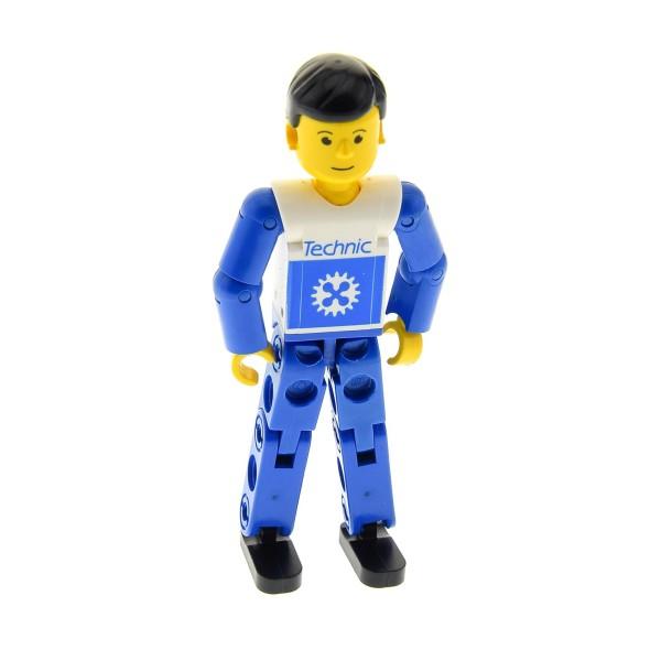 1 x Lego Technic Figur B-Ware abgenutzt Mann weiss blau Beine blau Top weiß bedruckt Zahnrad Arme blau Haare schwarz Rennfahrer Fahrer Technik 8712 tech005