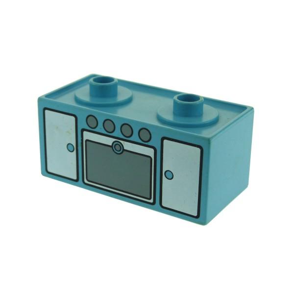 1 x Lego Duplo Möbel Herd Maersk hell blau Backofen Puppenhaus Schrank Küche 2 Herdplatten Ofen Tür 4907pb01