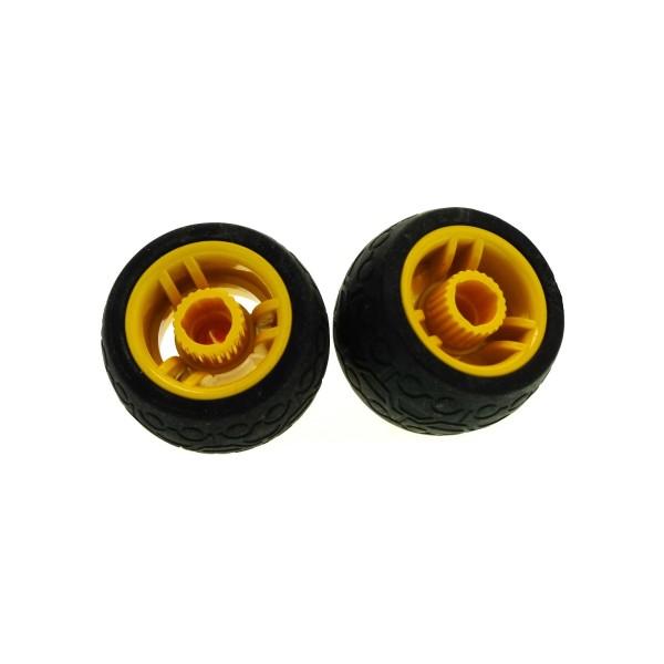 2 x Lego Duplo Toolo Rad schwarz Felge gelb Räder Reifen mit Kreis- und Trapez- Muster 31351 31350c01