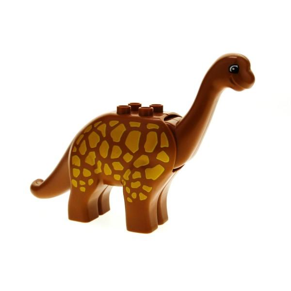 1 x Lego Duplo Tier Brachiosaurus Dino gross Dinosaurier Langhals dunkel orange braun mit Punkten gelb Steinzeit 4517764 31053pb02