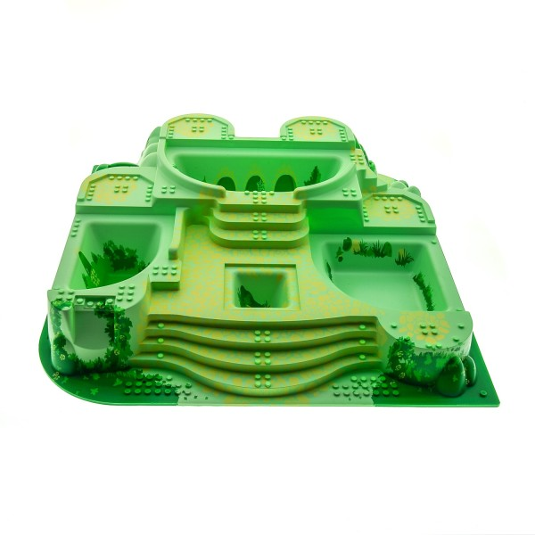 1 x Lego System 3D Platte B-Ware beschädigt Burg Bau Platte groß hell grün Felsen Treppen bedruckt für Set Belville Schloss verzauberter Palast 5808 33214pb02