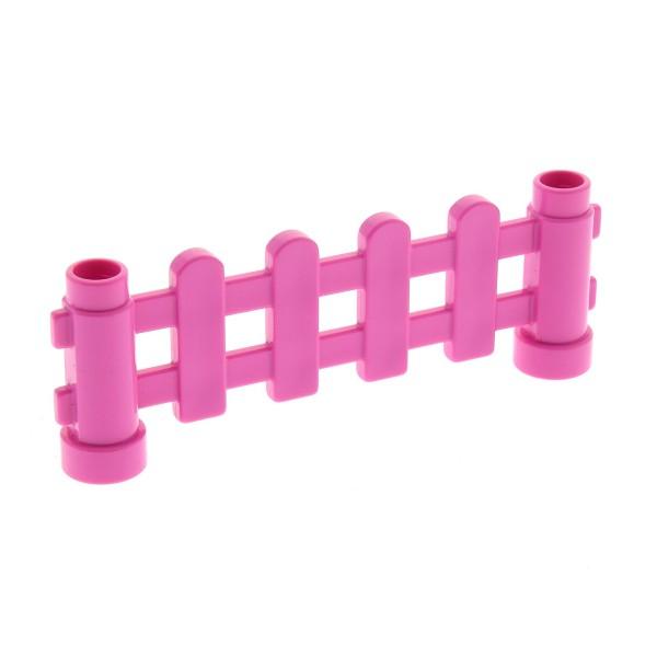 1 x Lego Duplo Zaun rosa dunkel pink 1x6x2 Zäune mit Pfosten Gatter Geländer Absperrung Fence für Bauernhof Baustelle Zoo Set 6152 6497
