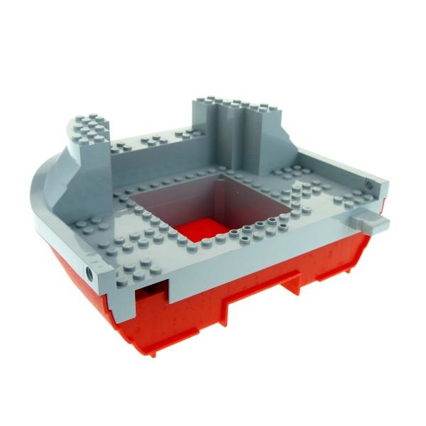 1 x Lego System Schiff Piraten Boot Rumpf rot neu-hell grau 16 x 22 Heck Hinterteil Set 7075 47981 47986c01