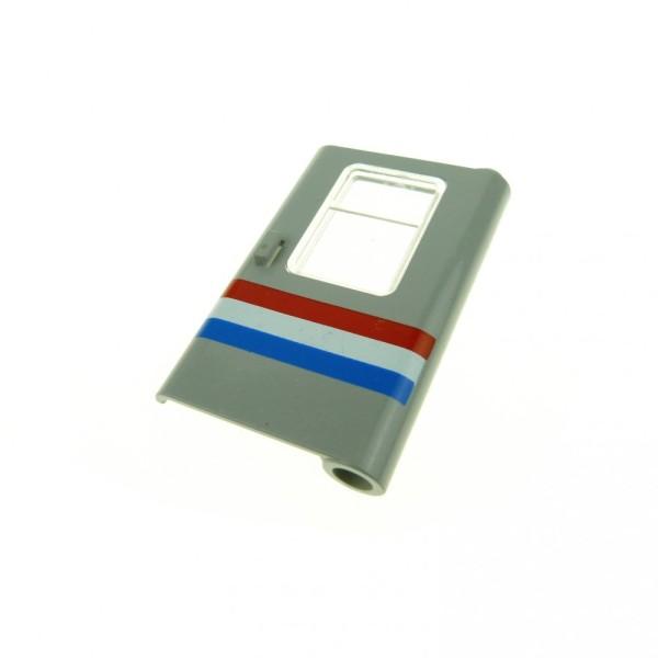 1 x Lego System Tür Blatt alt-hell grau transparent weiss 1 x 4 x 5 rechts mit Streifen rot weiß blau mit Fenster Zug Waggon 10001 10002 4182p04
