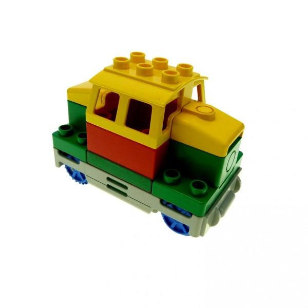 1 x Lego Duplo elektrische Eisenbahn E-Lok grün gelb Rangier Diesel Lok Zug komplett geprüft 6407 2961bc