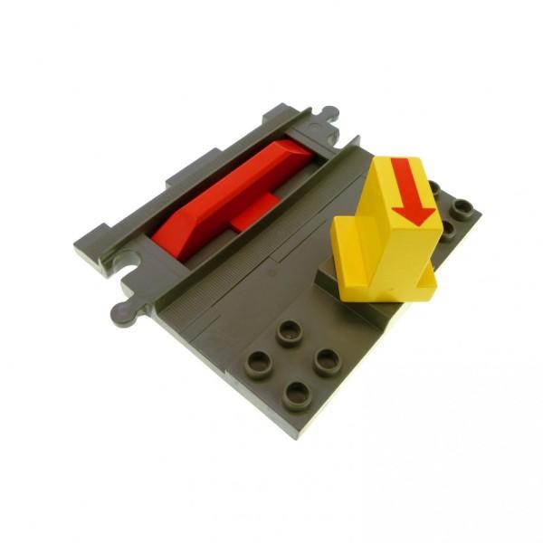 1 x Lego Duplo Eisenbahn Start Stop Schiene alt-dunkel grau rot gelb Code Stein Gleis Richtungswechsler 6442pb02 duptrain02