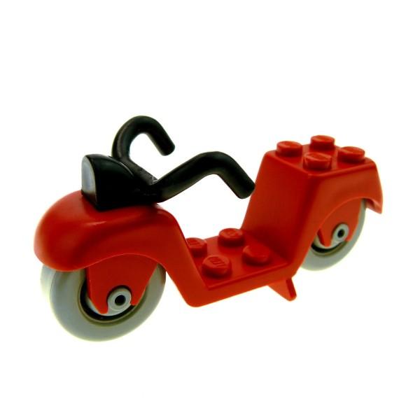 1 x Lego System Fabuland Fahrzeug Motorrad rot Scooter Roller 3605 324 fabac3