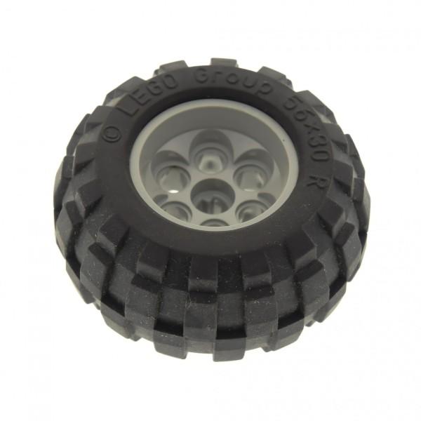 1 x Lego Technic Rad schwarz 56x30 R Felge alt-hell grau 49.6x28 VR Ballon Reifen 32180 6595c01