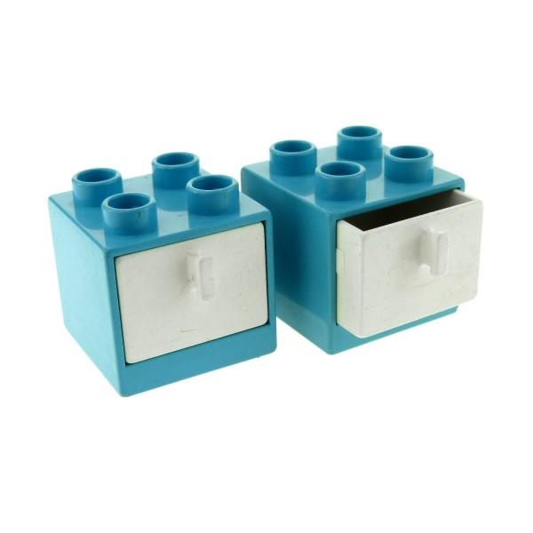 2 x Lego Duplo Möbel Schrank beschädigt hell blau 2x2x1.5 mit Schublade weiss 2x2 Schlafzimmer Küche Bad Puppenhaus vergilbt 4890 4891
