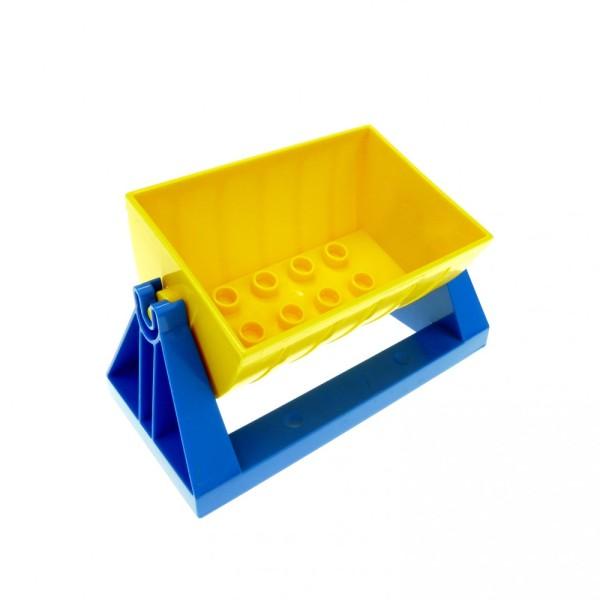 1 x Lego Duplo Eisenbahn Aufsatz Lore gelb 2x4 Zug Kipp Halter blau 4x8 Schütte Anhänger Waggon 51558 51557