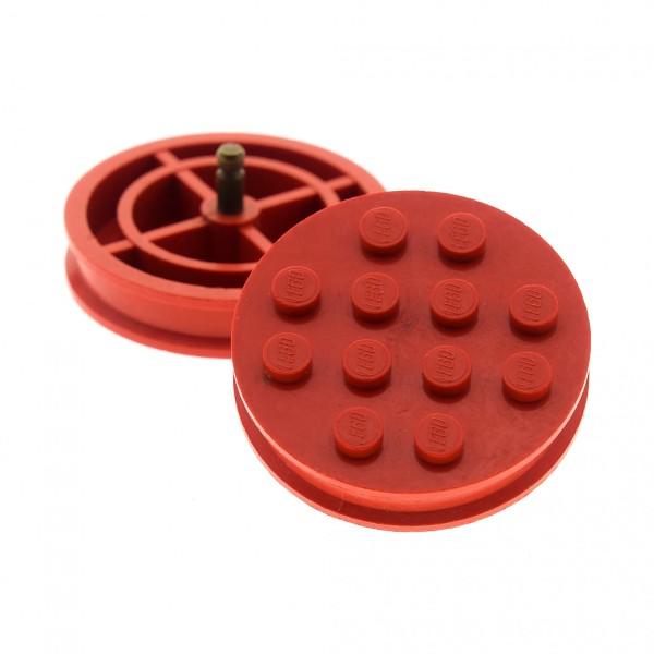 2 x Lego System Rad rot Räder Felge solo groß 12 Noppen old Metall Stift gelb Auto Anhänger Zug 715