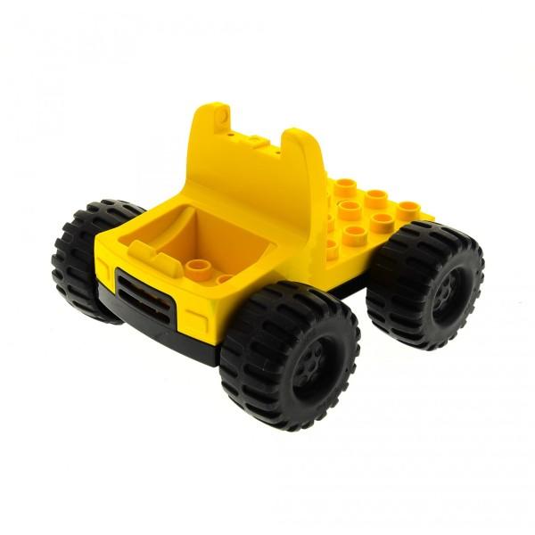 1 x Lego Duplo Bau Fahrzeug B-Ware abgenutzt LKW Laster gelb schwarz Auto Zugmaschine Reifen groß Set 3089 2807 2814 2808 9128 dupconcar