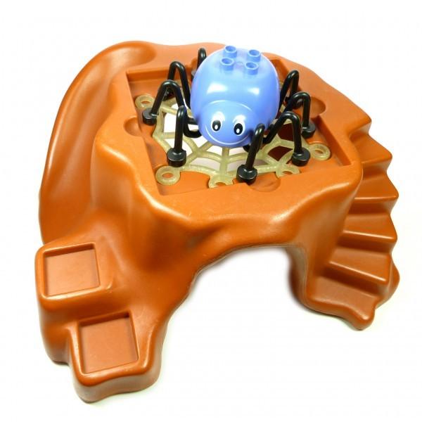 1 x Lego Duplo 3D Platte dunkel orange braun Little Forest Felsen mit Spinne und Netz Spinnennetz 72538 31228 E37