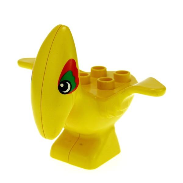 1 x Lego Duplo Tier Pteranodon gelb um das Auge rot und grün Flug Dinosaurier Steinzeit Dino Welt 31057pb01