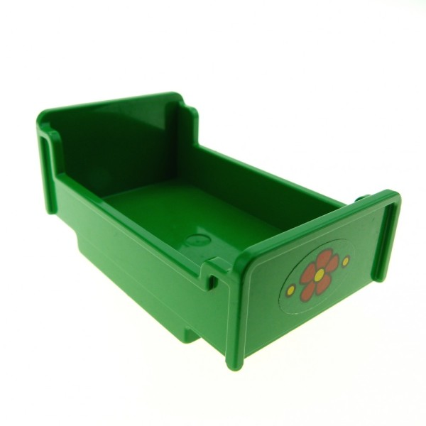 1 x Lego Duplo Möbel Bett grün 3 x 5 x 1 2/3 mit Blumen Aufkleber Schlafzimmer Puppenhaus 76338 4895