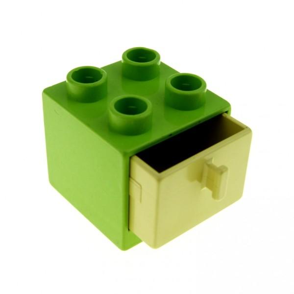 1 x Lego Duplo Möbel Schrank lime grün 2x2x1.5 Schublade beige tan 2x2 Puppenhaus Bad Schlaf- Wohn - Zimmer Kommode 4890 4891