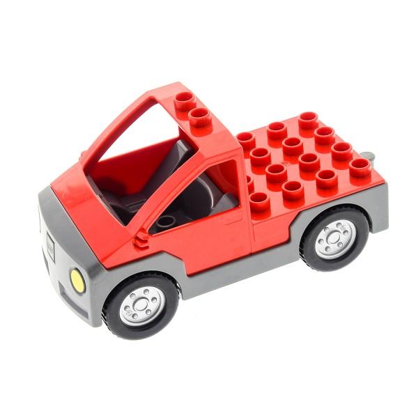1 x Lego Duplo Auto rot neu-dunkel grau Transporter Werkstatt Wagen Lastwagen Pickup Set 9240 4664 9211 4249172 47438c01