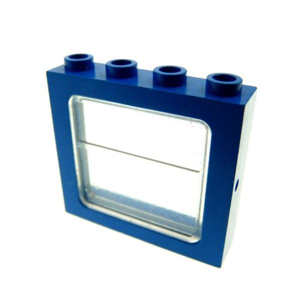 1 x Lego System Fenster Rahmen blau transparent weiss 1x4x3 Zug Eisenbahn Haus Waggon Lok train Classic Space 4034 4033
