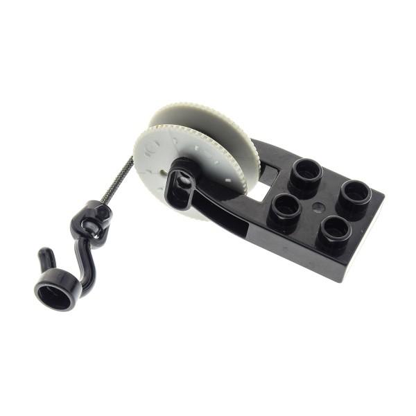 1 x Lego Duplo Seilwinde schwarz Seil alt-dunkel grau mit Haken Rolle perl hell grau 37 mm Kran Burg Flaschenzug Schiff Baustelle 4162964 42026 46321c01