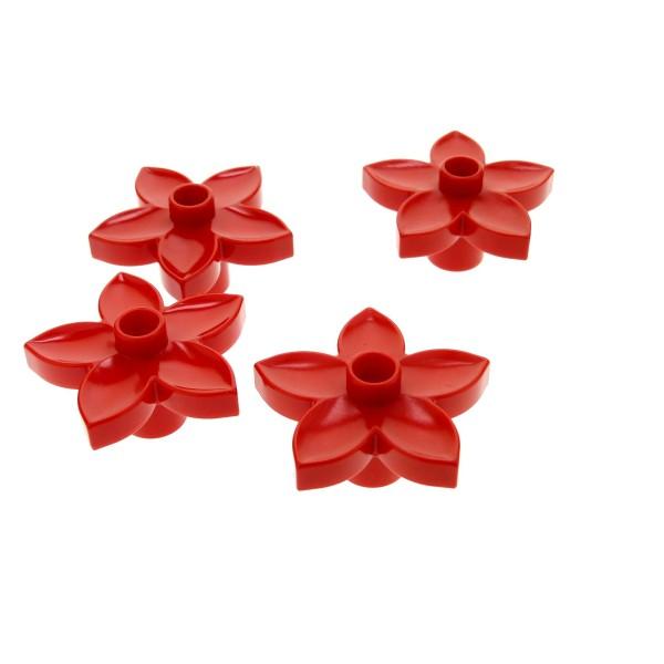 4 x Lego Duplo Pflanze Blüte rot Blume für Set 10515 5635 10508 9149 4654 30217 10581 9194 10542 2979 4100774 6510