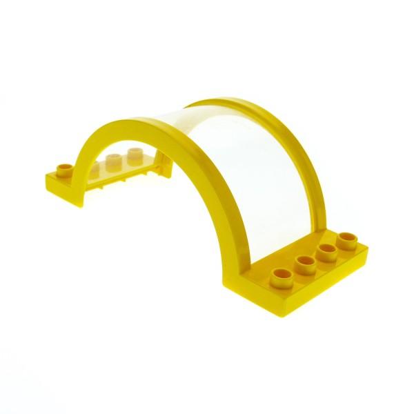1 x Lego Duplo Dach Fenster B-Ware abgenutzt gelb 4x10x3 Scheibe transparent Oberlicht Bogen Überdachung Zoo Eisenbahn 6436
