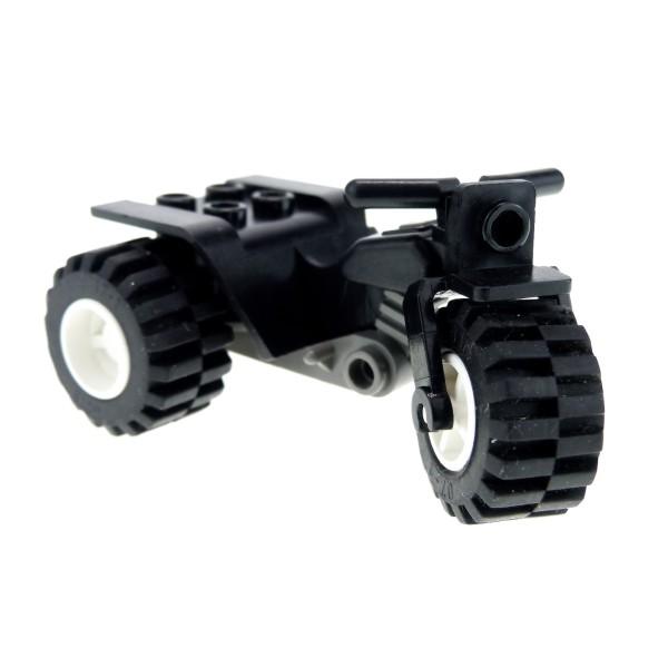 1 x Lego System Motorrad Trike schwarz neu-dunkel grau Rad Felge weiss Chassis Fahrzeug Bike Tricycle 30187c06