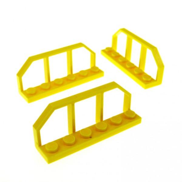 3 x Lego System Zaun gelb 1 x 6 Gatter Zäune Waggon Geländer Ende Absperrung Eisenbahn 6583