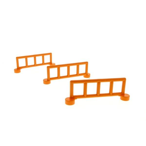 3 x Lego Duplo Zaun orange mit 5 Pfosten Zäune Gatter Gitter Geländer Absperrung Fence für Bauernhof Baustelle Zoo 2214