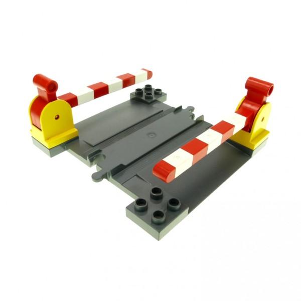1 x Lego Duplo Bahnübergang neu-dunkel grau mit 2 x Schranke gelb rot weiss Hebel gross Schiene Eisenbahn Kreuzung 6405c01 6391