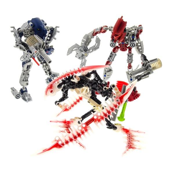 3 x Lego Bionicle Figuren Set Modelle Technic Mistika 8688 Toa Gali 8689 Toa Tahu 8694 Krika incomplete unvollständig